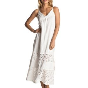 White maxi dress with lace detail